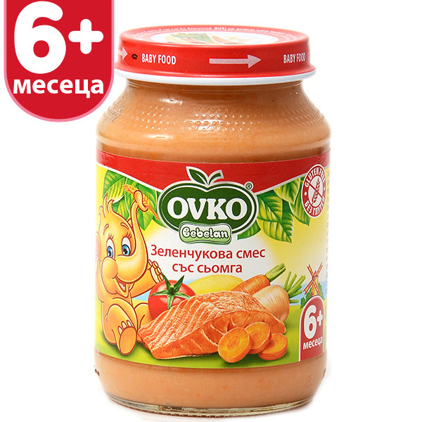 Овко Бебешко пюре /Меню Сьомга със зеленчуци/ 5м. 190 гр. 1453